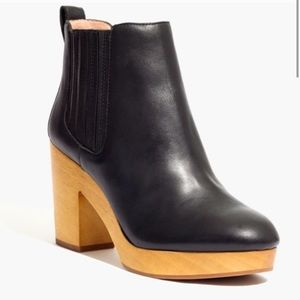 Madewell Marco Black Leather Wood Ankle Boot 8.5